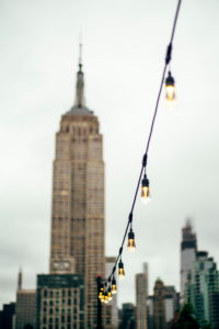 USA, New York City, Chain of lights in front of Chrysler Building