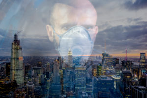 Policeman wearing face mask, watching over NYC, USA,  multiple exposure