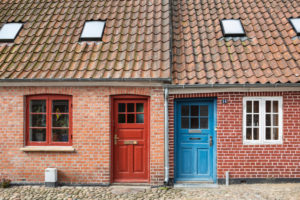 Denmark, Ribe, Facade of brick house with tiled roof