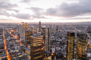 Germany, Hesse, Frankfurt,†City downtown at sunset