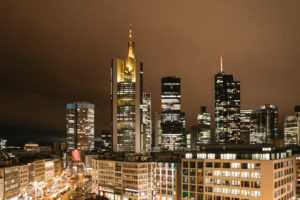 Germany, Hesse, Frankfurt, Illuminated city downtown at night