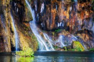 Croatia, Long exposure of waterfalls splashing into pond in†Plitvice†Lakes National Park