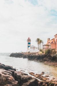 Portugal, Lisbon District, Cascais,†Rocky coastline and Santa Marta Lighthouse