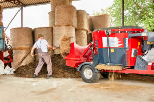 Male farmer putting hay in agricultural machinery at barn