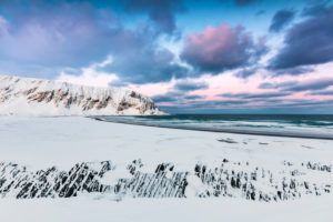 Beach in winter, Berlevag, Norway