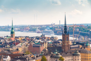 Sweden, Sodermanland, Stockholm, Aerial view of Riddarholmen Church and surrounding buildings