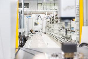 Machinery in empty factory shop floor