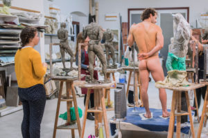 Sculpture, class with naked model