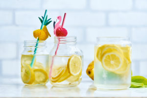 Pitchers with fresh homemade lemonade