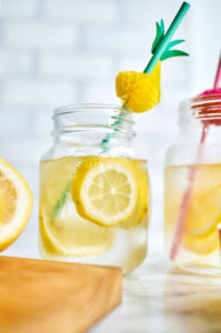 Jars of homemade lemonade