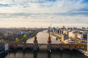 Germany, Berlin, Aerial view of Oberbaum Bridge and river Spree canal