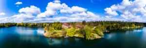Germany, Hesse, Kahl am Main, Aerial panorama of Schloss Emmerichshofen in summer