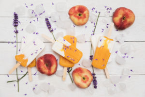 Homemade peach yogurt†popsicles†and lavender