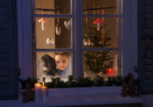 Germany, Boy waiting for santa claus