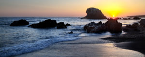 California, Pacific coast, San Simeon, Big Sur, beach, rock, sundown