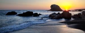 Kalifornien, Pazifikküste, San Simeon, Big Sur, Strand, Felsen, Sonnenuntergang