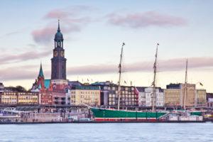 Hamburg, Hafen, Segelschiff, Rickmer Rickmers, Sonnenuntergang, Michel
