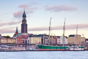 Hamburg, harbour, sailing ship, Rickmer Rickmers, sundown, Michel