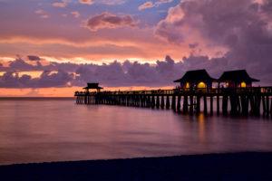 Florida, Naples, Strand, Sonnenuntergang, Pier, Gewitterstimmung