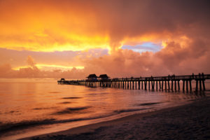 Florida, Naples, beach, pier, sundown