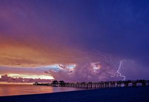 Florida, Naples, Strand, Sonnenuntergang, Pier, Blitz