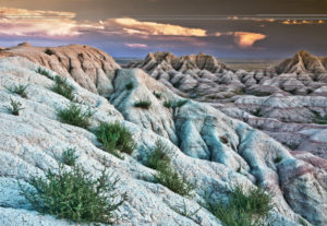South Dakota, Badlands National Park, mountain crest, summit ridge, sleeping dog