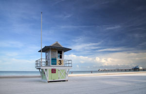 The USA, Florida, Clearwater Beach, beach panorama, lifeguard station