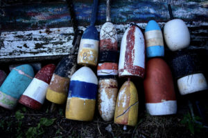 The USA, Massachusetts, Rockport, lobster buoys