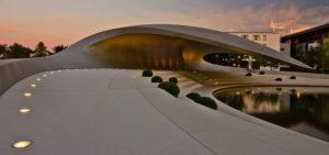 Wolfsburg, Autostadt, Porsche pavilion, architecture, dusk