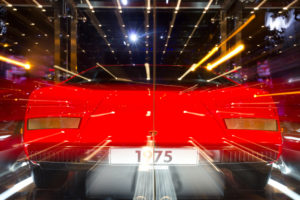 Wolfsburg, Autostadt, red Lamborghini, lights, effect