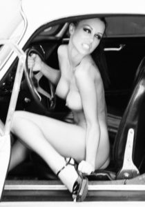 Woman, sit, young, car, nude, stilettos, at the side, s/w,