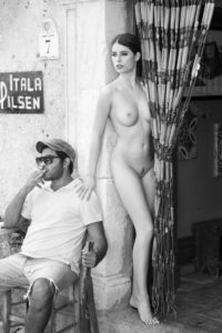 Bar, woman, nude, doorway, man, chair, sit,  human, young, outside, sitting, standing, touching, sexy, charm, erotic, femininity, nude, pinup, seduction, Guest, Gastronomy, smoke, Italy,