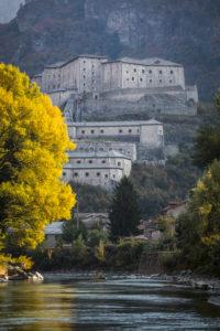 Fortress of Bard above the river Dora Baltea, province Aosta, Aosta Valley, Italy