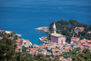 Ausblick auf Veli Losinj, Insel Losinj, Kvarner Bucht, Kroatien