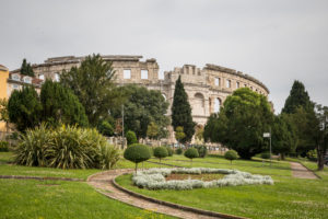 Park and Pula Arena (Roman amphitheatre), Istrian Peninsula, Croatia