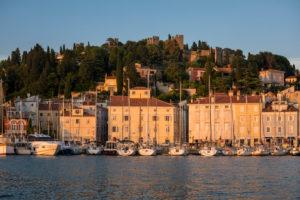 Hafen mit Altstadt und historische Stadtmauer im Abendlicht, Piran, Region Primorska, Halbinsel Istrien, Slowenien