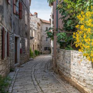 Narrow street in the old town of Bale, Istria, Croatia