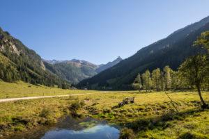 Das Seidlwinkltal mit der Bergkulisse der Hohen Tauern, Nationalpark Hohe Tauern, Talort Wörth, Pinzgau, Salzburg, Österreich, September 2018