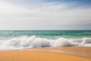 Surf on the beach of Carvoeiro, Atlantic Ocean, Algarve, Faro district, Portugal