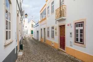 Narrow alley in the village of Alte, Algarve, Faro district, Portugal