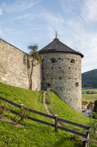 Historic city wall and witch tower, Radstadt, Pongau, Salzburg State, Austria, October 2019