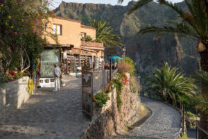 Souvenir shop and restaurant in the mountain village of Masca in the Teno Mountains, Tenerife, Canary Islands, Spain