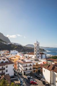 View over Garachico with the Santa Ana church, Tenerife, Canary Islands, Spain