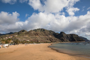 Playa de las Teresitas beach in front of the Anaga Mountains, San Andres, Tenerife, Canary Islands, Spain