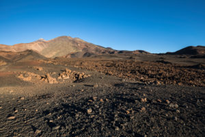 Volcanic landscape with a view of the volcanoes Pico del Teide (3718 m) and Pico Viejo (3135 m), El Teide National Park, UNESCO World Heritage, Tenerife, Canary Islands, Spain