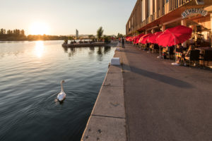 Evening mood at CopaBeach on the New Danube, leisure area and restaurant Rembetiko, 22nd district, Donaustadt, Vienna, Austria,