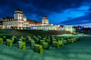 Binz, Mecklenburg-Western Pomerania, Germany, view to the pier and the health resort house with beach in the dusk