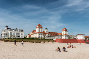 Binz, Mecklenburg-Western Pomerania, Germany, Grand Hotel Kurhaus and beach