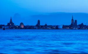 Stralsund, Mecklenburg-Vorpommern, Deutschland, Stadtansicht, Abenddämmerung,
