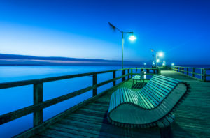 Göhren, Mecklenburg-West Pomerania, Germany, Europe, view to the pier in the dusk,
